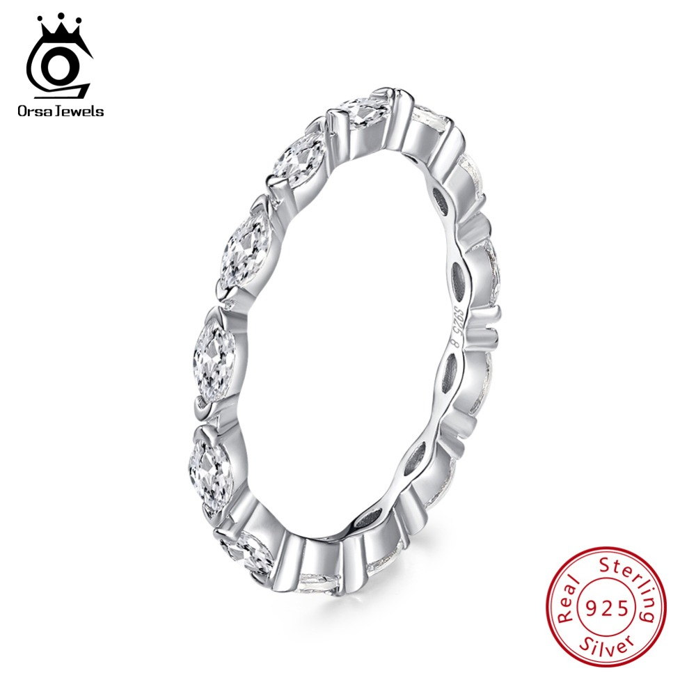 ORSA JEWELS Genuine 925 Sterling Silver Rings For Women AAA Cubic Zircon Korean Style Finger Ring Wedding Jewelry Gift OSR70 in Rings from Jewelry Accessories