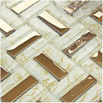 Złoto galwaniczne trawa sztuka z motywem liści szklane płytki z mozaiką do szafki kuchennej kominek dekoracja ścienna majsterkowanie SD-043 tanie i dobre opinie Suki C Płytki mozaiki Kryształ Crystal Glass mixed Resin Shell 300 x 300 mm 6 mm Mesh Wall floor and backsplash ect