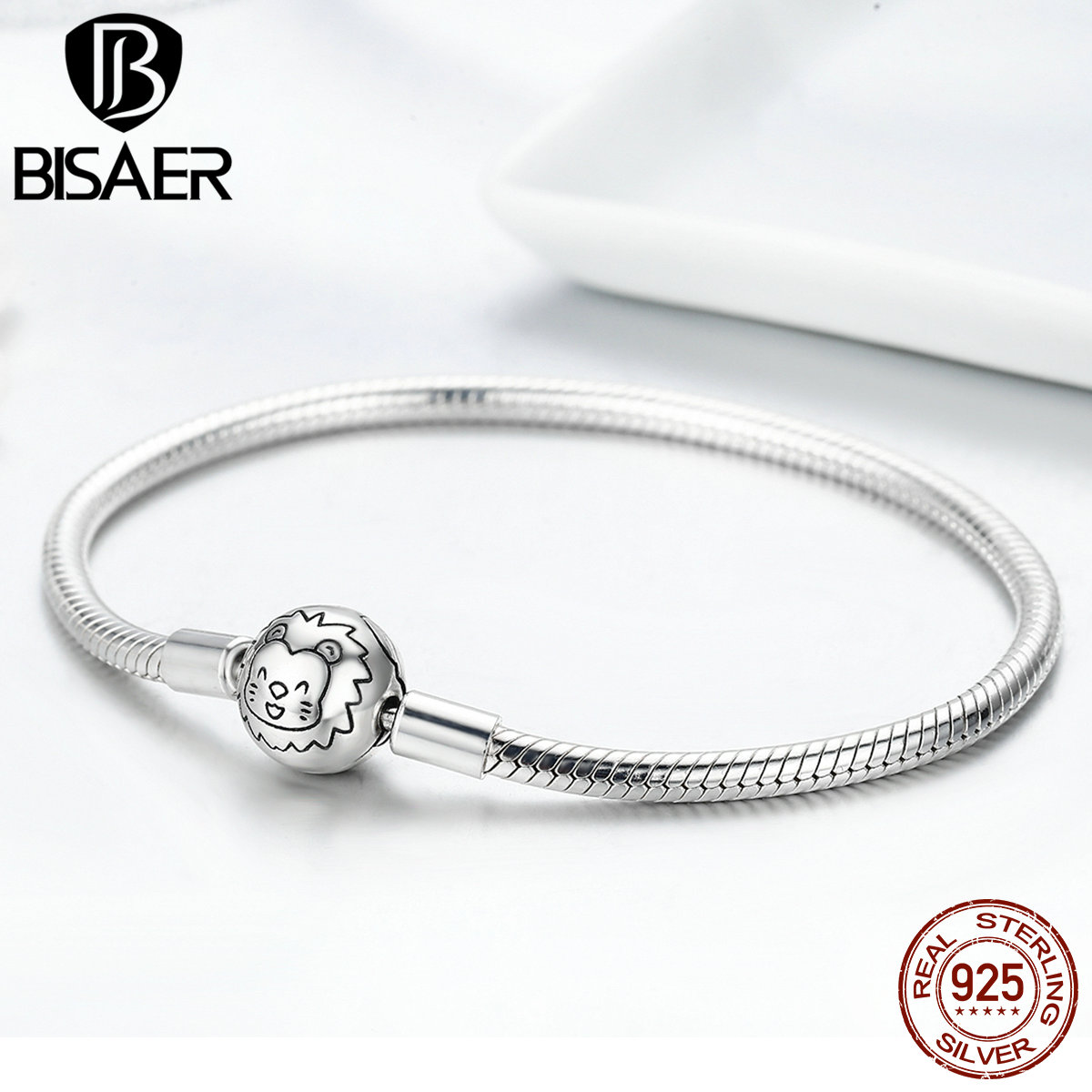 BISAER Authentic 925 Sterling Silver Femme Snake Chain Bracelets & Bangles Animal Lion Clasp Women Bracelets Fine Jewelry GXB054