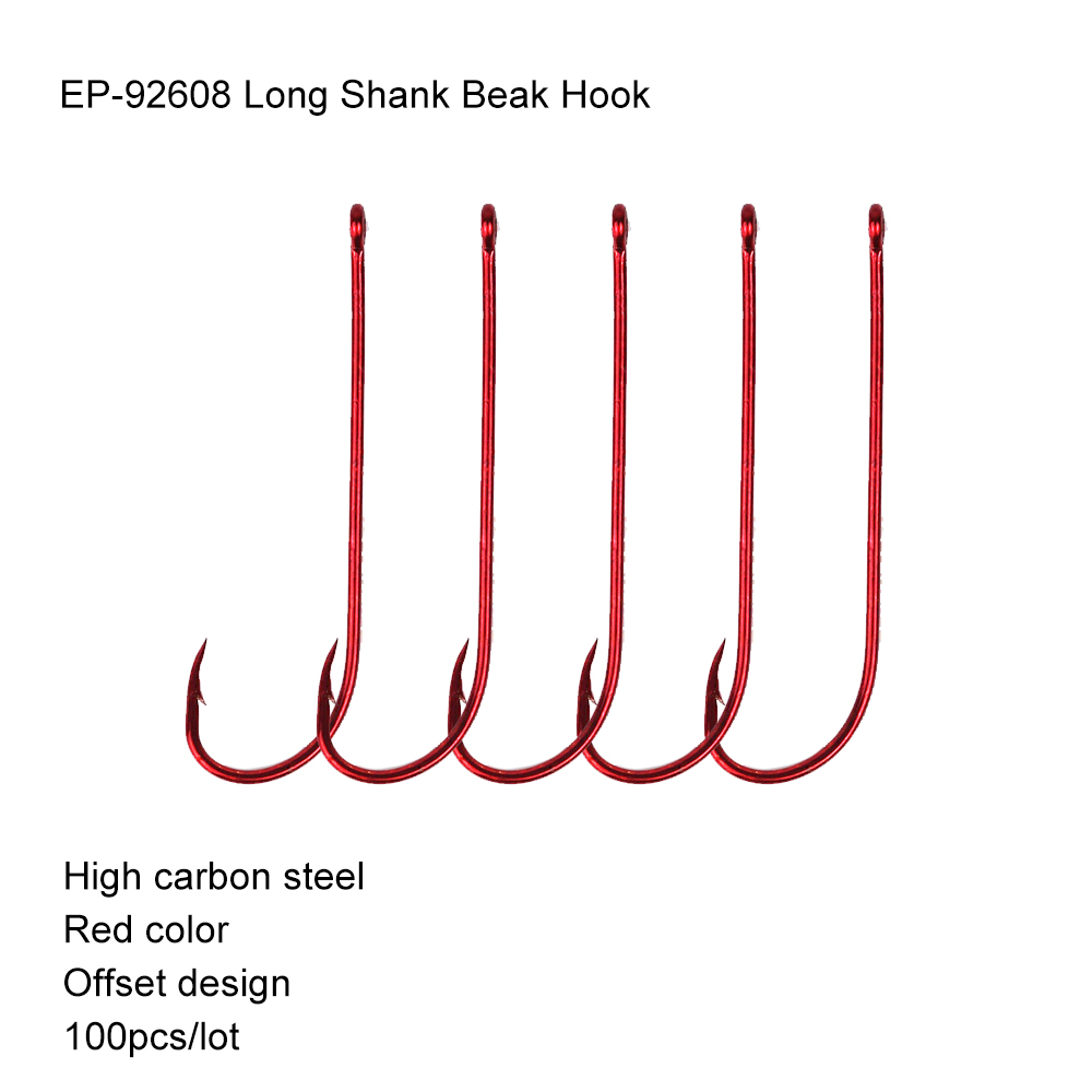 <font><b>100pcs</b></font> Eupheng Quality EP-92608 Classic Long Shank Beak Red <font><b>Fishing</b></font> <font><b>Hook</b></font> Octopus Rig Fish <font><b>Hooks</b></font> Circle Sharpened Point <font><b>Hook</b></font> New image
