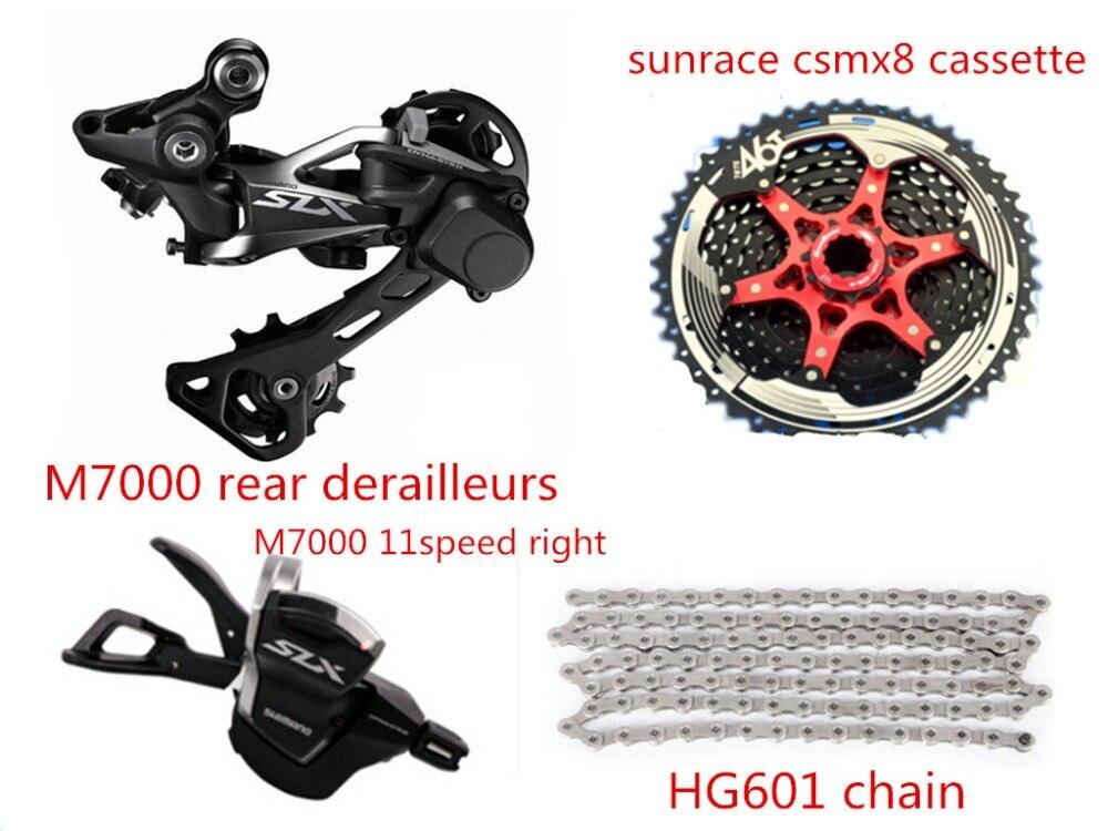 Dérailleurs de vélo SHIMANO SLX M7000 11 vitesses groupe dérailleurs arrière + levier de manette de vitesse + chaîne hg601 + cassette sunrace csmx8 46 T