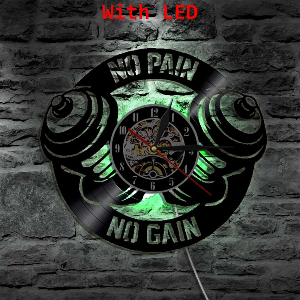 No Pain No Gain Gym Sport Vinyl Clock Wall Light Led