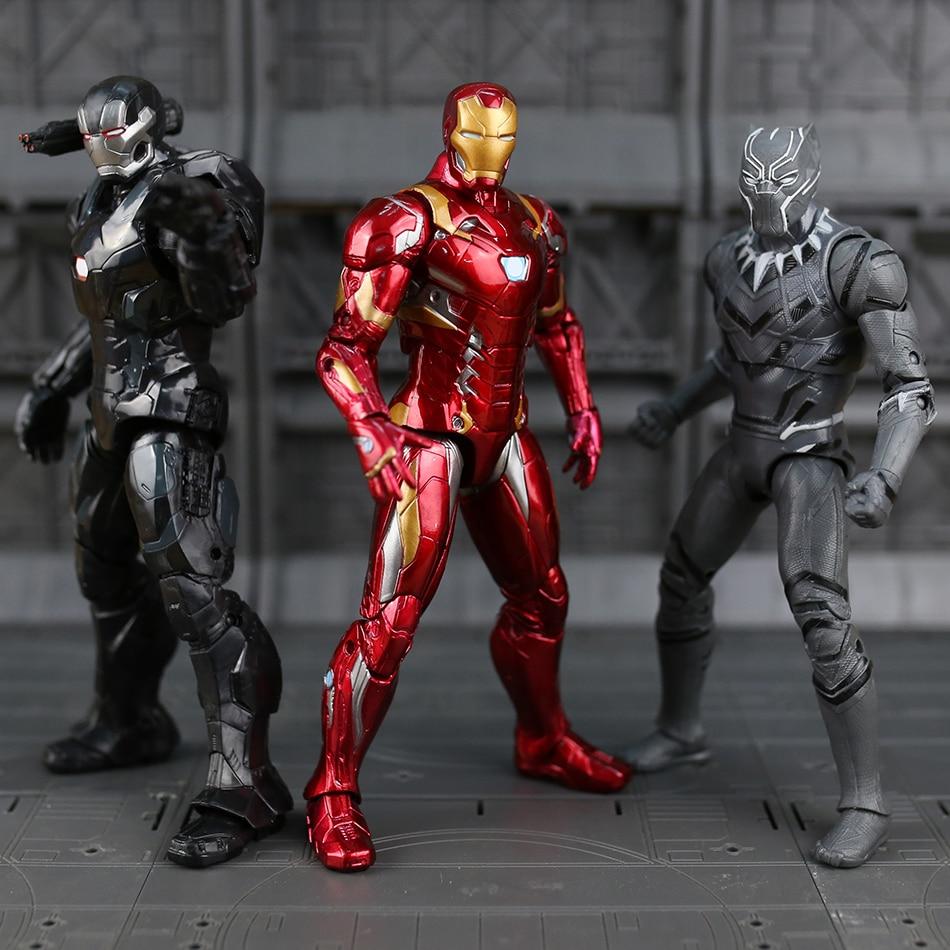 Disney Marvel 7 Legends Civil War Iron Man Captain America Black Panther Vision Falcon Iron Man PVC Action Figure toy the captain america 15cm civil war 1 6 joint movable pvc action figure model toy