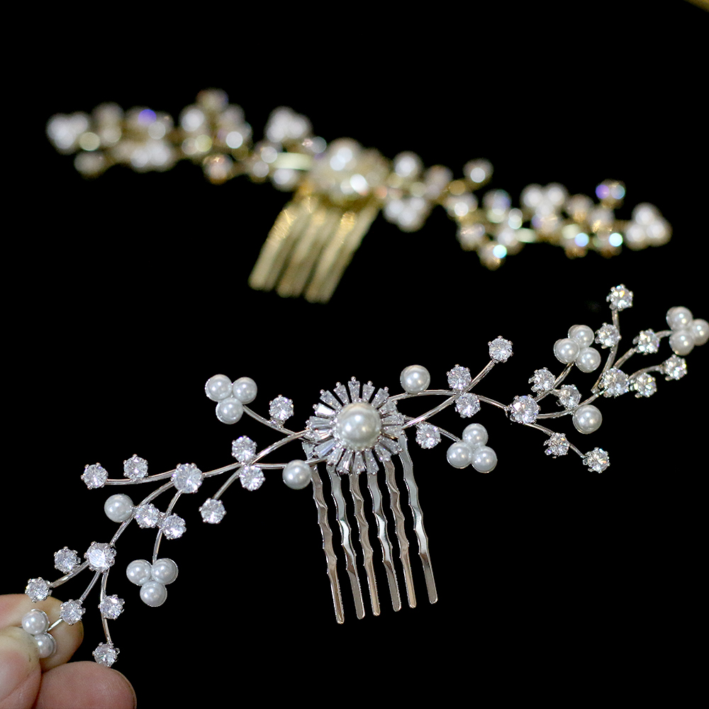 High-end CZ bride hair comb elegant wedding hair accessories pearl jewelry