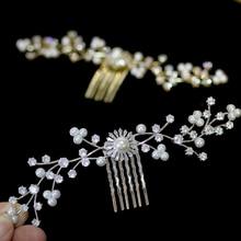 High-end CZ bride hair comb elegant wedding accessories pearl jewelry