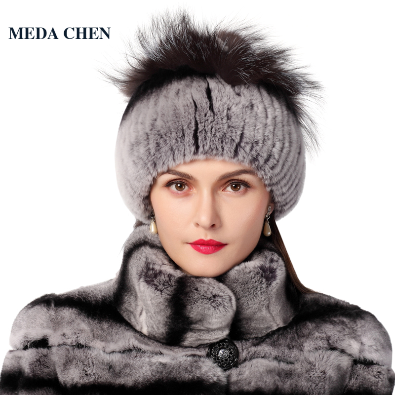 Winter women rex rabbit fur hat with fox fur flowers knitted beanies 2016 new fashion good quality ladies real fur caps 2017 winter fur hat female rex rabbit fur hat with fox fur pom poms fur knitted beanies fashion high quality caps for women hats