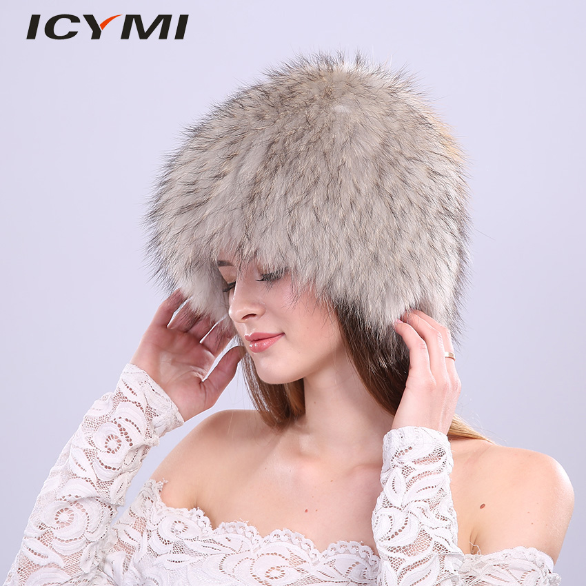 ICYMI Winter Hat for Women 100 Natural Raccoon Fur Elastic Knitted Cap Woman 39 s Fluffy Wig Real Fur Hat Female Ear Warm Beanies in Women 39 s Skullies amp Beanies from Apparel Accessories