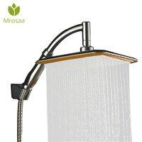 ABS Chrome 9 Inch Square Thin Rotatable Top Rain Shower Head Wall Mounted Extension Arm Water Saving Pressure Spray Shower Bath