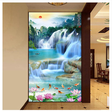 купить beibehang papel de parede Hanging on the wall of money falls 3D HD Wall paper water entrance landscape wallpaper for walls 3 d дешево