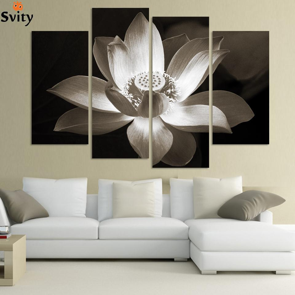 Black And White Contemporary Wall Decor : Panel modern wall art home decoration printed flower oil