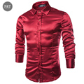 Brand Clothing Men Casual Luxury British Stylish Silk Wedding Soft Dress Mens Shirts Silk Camisa Hombre Chemise Homme Masculina