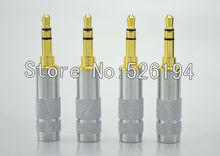 Free shipping 4pcs Oyaide style Straight 3.5mm 3 poles Male stereo phono DIY Solder Adapter