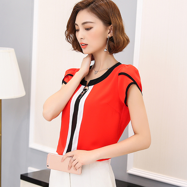 Chiffon Blouse Shirt Female Butterfly Sleeve Blouses 2017 New Summer Tops Women Clothing Slim Hit Color White OL Shirts Big Size