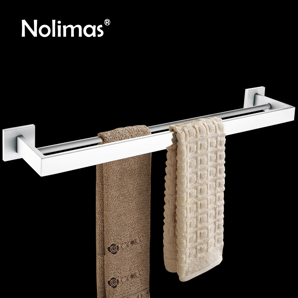 White Polished SUS 304 Stainless Steel Double Towel Bar Square Towel Rack Wall Mounted Towel Holder Bathroom Accessories aluminum wall mounted square antique brass bath towel rack active bathroom towel holder double towel shelf bathroom accessories