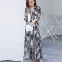 e4528a2aa9 Summer Boho Chiffon Plaid Print Long Dress Women Sexy V Neck Straight Loose  Maxi Dresses Streetwear