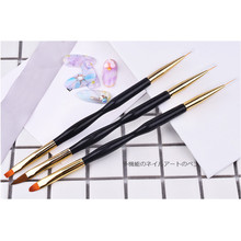 1Pc Black Double ends UV Gel Drawing Painting Pen 2 Types of Brush Heads Kinds of Function Manicure Nail Art Tool