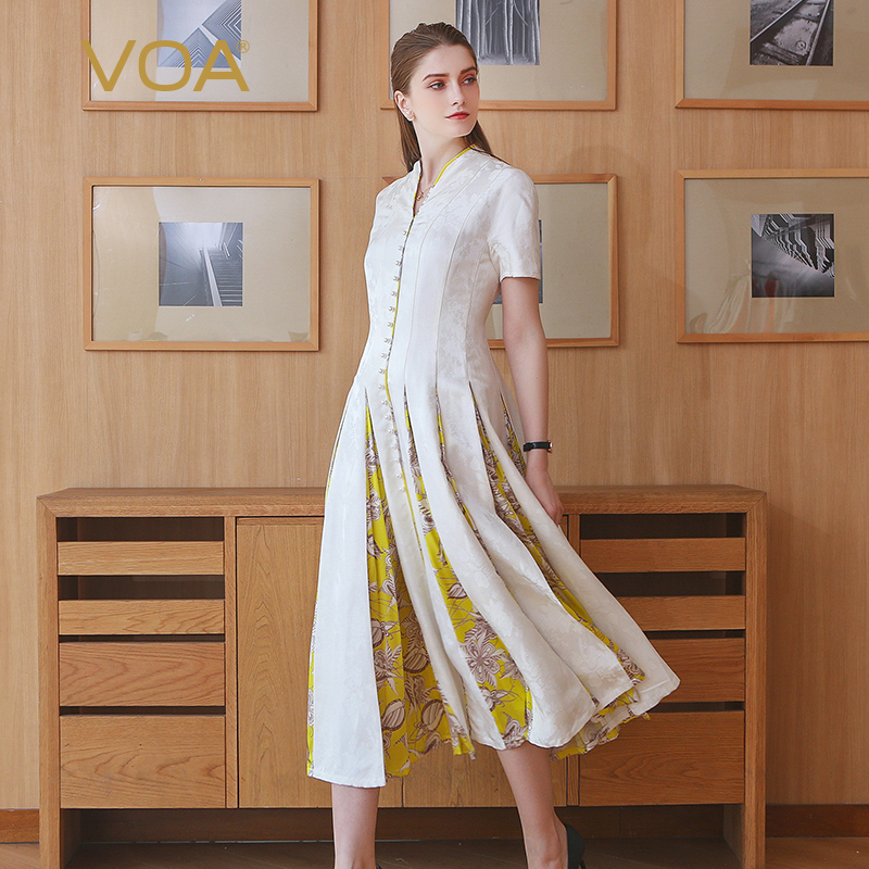 VOA Heavy Silk Jacquard White Pearl Clasp Slim Dress Vintage Elegant Summer Women High Waist Tunic Print Midi Dress A117