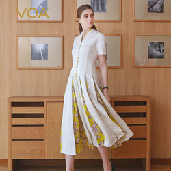 VOA Zijden Jacquard Witte Parel Sluiting Slanke Jurk Vintage Elegante Zomer Vrouwen Hoge Taille Tuniek Print Midi Jurk A117