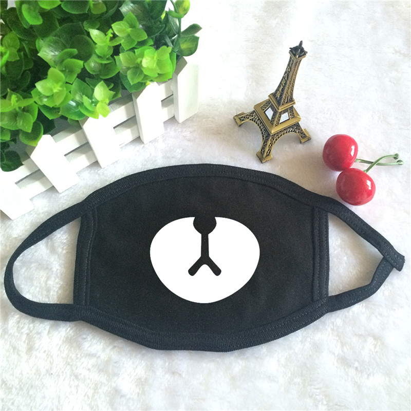 Kpop Album In Near My Home Lovely Bear Logo Print K-pop Fashion Face Masks Unisex Cotton Black Mouth Mask
