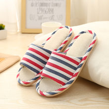 Women Indoor Slippers 2019 Spring Summer Home Flat Shoes Woman Striped Style Linen Slipper Female Slip On Bedroom Flax Slides(China)