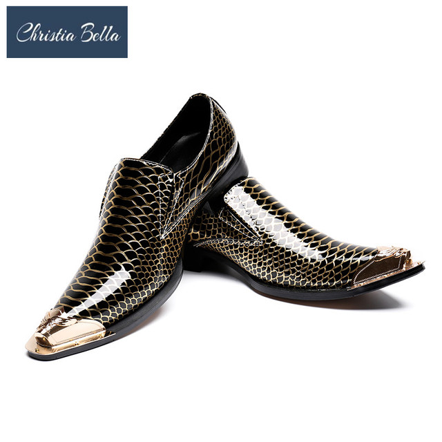 e086d590a69 Christia Bella Luxury Fashion Brand Gold Mens Dress Shoes Wedding Shoes  Metal Pointed Toe Shiny Genuine Leather Business Shoes