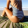 Women Striped Swimsuit Triangle Low Neck Bandage Beach Bathing Suit X79
