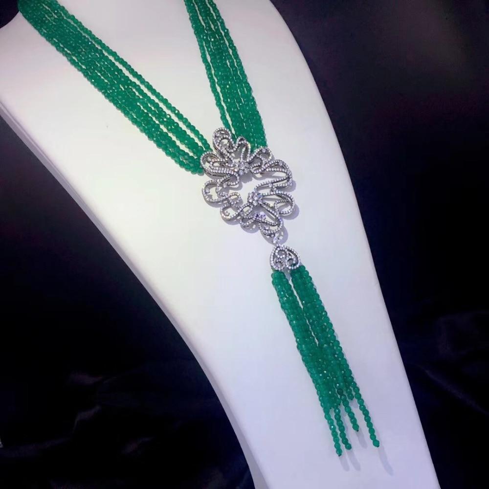 Collier agate verte 925 argent sterling avec glands pendentif collier fine femmes bijoux multi couches livraison gratuite 18 pouces
