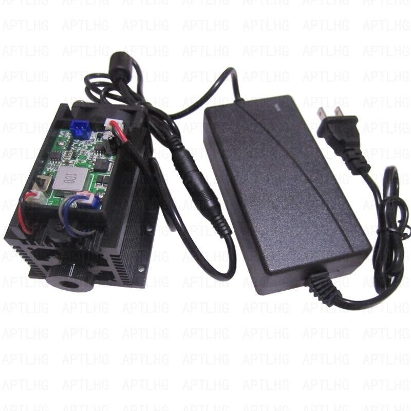 15 w 15000 mw cabeça Laser Poderoso Alta Potência TTL/PWM Analógico Ajustável Foco Laser Azul Módulo de Laser DIY máquina de gravura do Corte