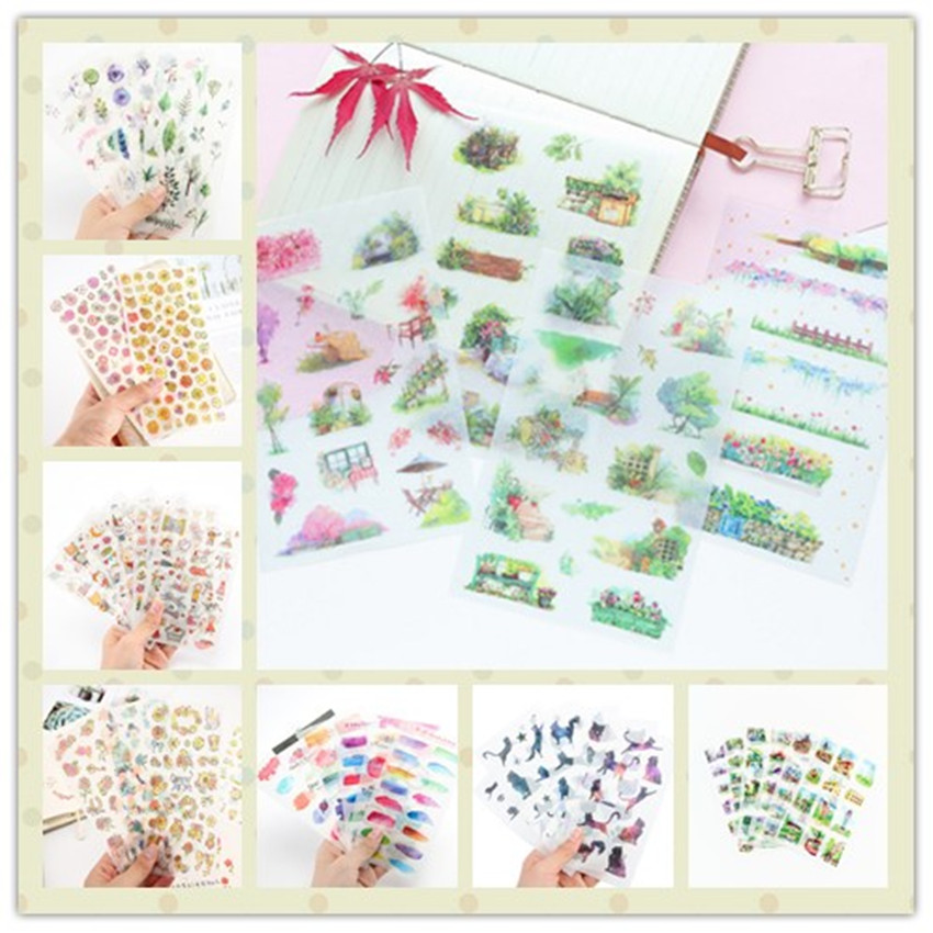 6sheets/lot Kawaii Hand-painted Sticker DIY Diary Hand Account Stationery Decorative School Office Supply 11 Styles Can Choose