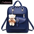 New Women Designer PU Leather Backpack With Bear Fashion Preppy Style School Bags Students Backpacks Travel Bags Package