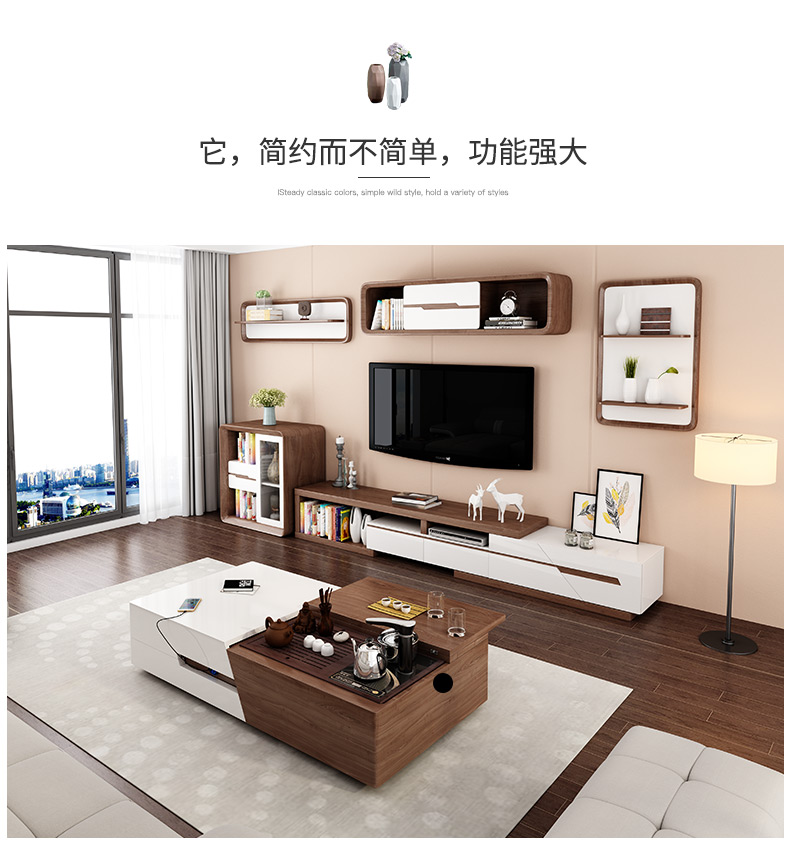 TV Stand Modern Living Room Home Furniture Tv Led Monitor Stand Mueble Tv Cabinet Mesa Tv Table+Coffee Centro Table + Cabinet