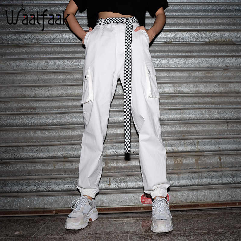 Waatfaak Cotton Woven Long Trouser Women Solid White Pocket Regular High Waist Cargo Pants Casual 2018 Summer Elegant Slim Pnats