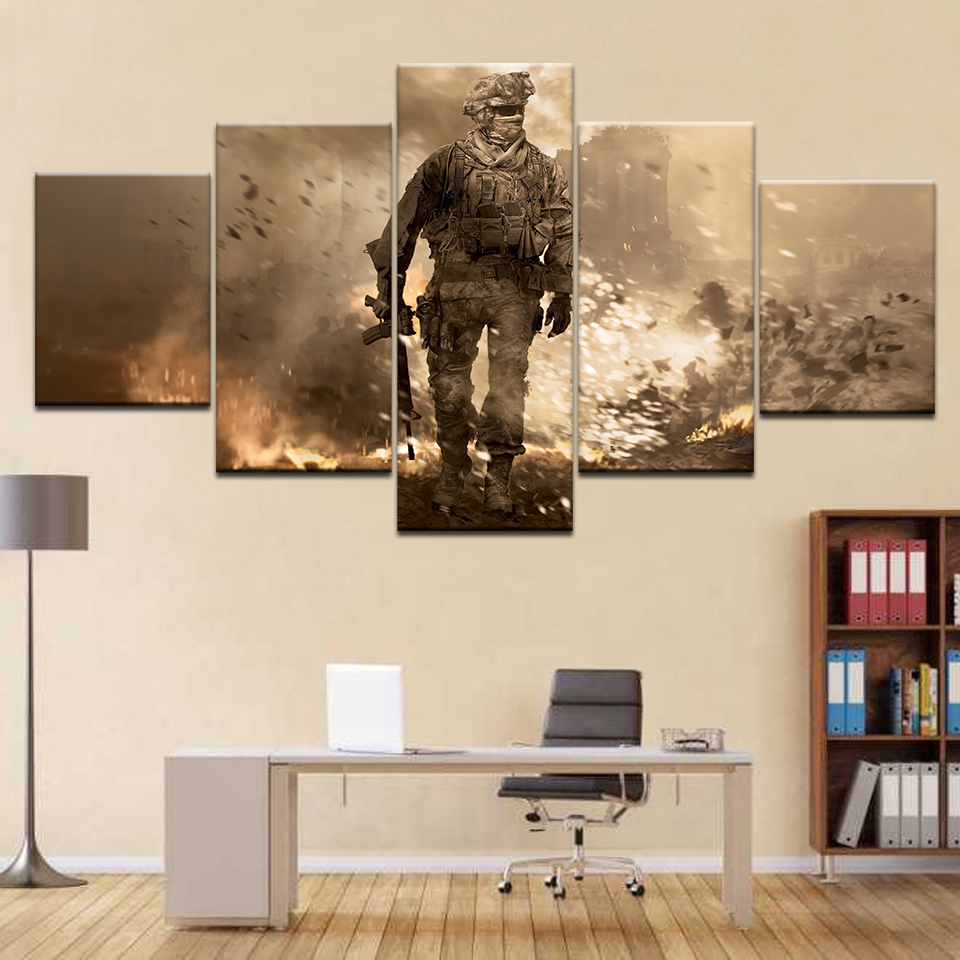 5 Panel/piece HD Print call of duty game modern wall posters Canvas Art Painting For home living room decoration