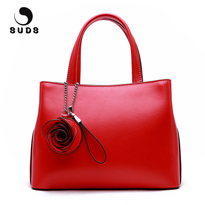 SUDS Brand Women Bag Genuine Leather Handbag Ladies Fashion High Quality Crossbody Bag Female Small Flowers Cow Leather Tote Bag rdywbu brand genuine leather tote handbag 2017 women colourful flowers patchwork shoulder bag plaid messenger crossbody bag b293