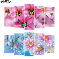5d diy diamond embroidery butterfly&flower 5PCS diamond painting Cross Stitch full drill Multi picture gift,Rhinestone stickers,
