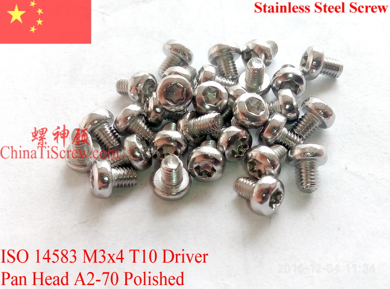 Stainless Steel screws M3x4 Torx T10 Driver ISO 14583 Pan Head A2-70 Polished ROHS 100 pcs
