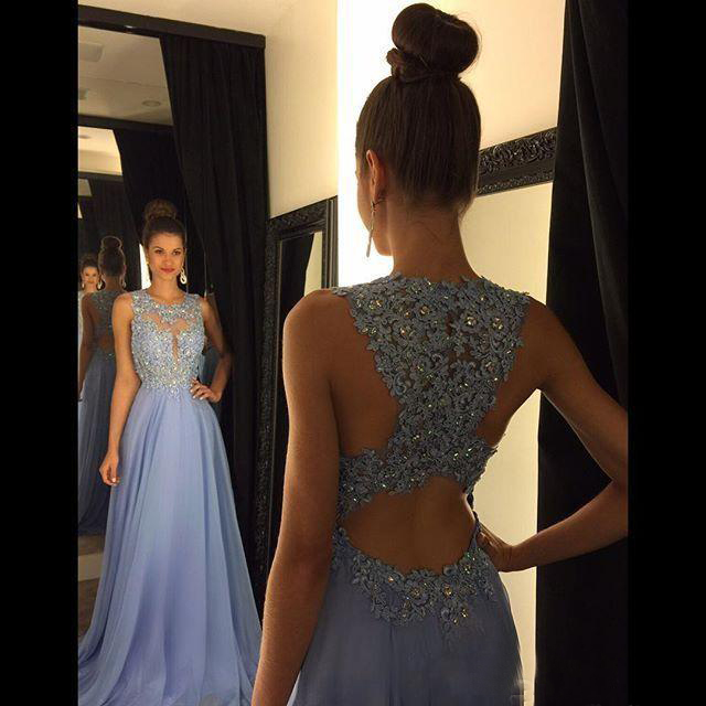 Cheap Lavender A Line Lace   Prom     Dresses   Jewel Neck Beads Sequined Applique Long Chiffon Formal Evening Party Gowns Floor Length