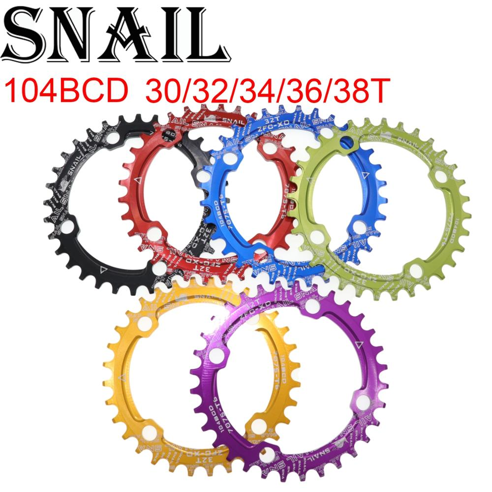 Coroa 104 BCD CARACOL Rodada 30T 32 34 36 38T Placa Dentária dente Narrow n Ampla Ultraleve MTB mountain Bike 104BCD Anel Cadeia