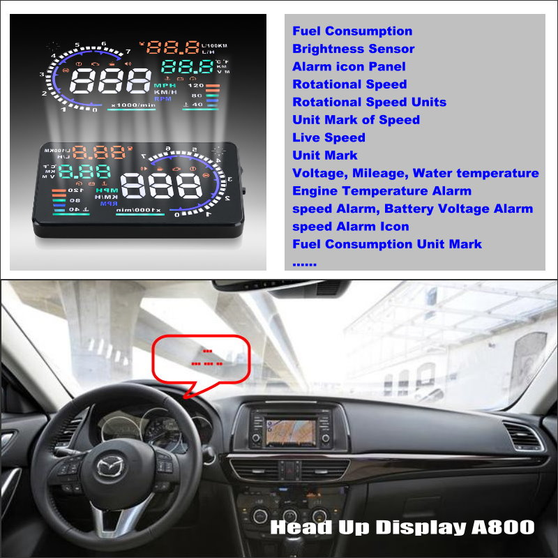 все цены на Car HUD Head Up Display For Mazda 6 M6 Atenza GJ 2013 2014 2015 - Safe Driving Screen Projector Refkecting Windshield