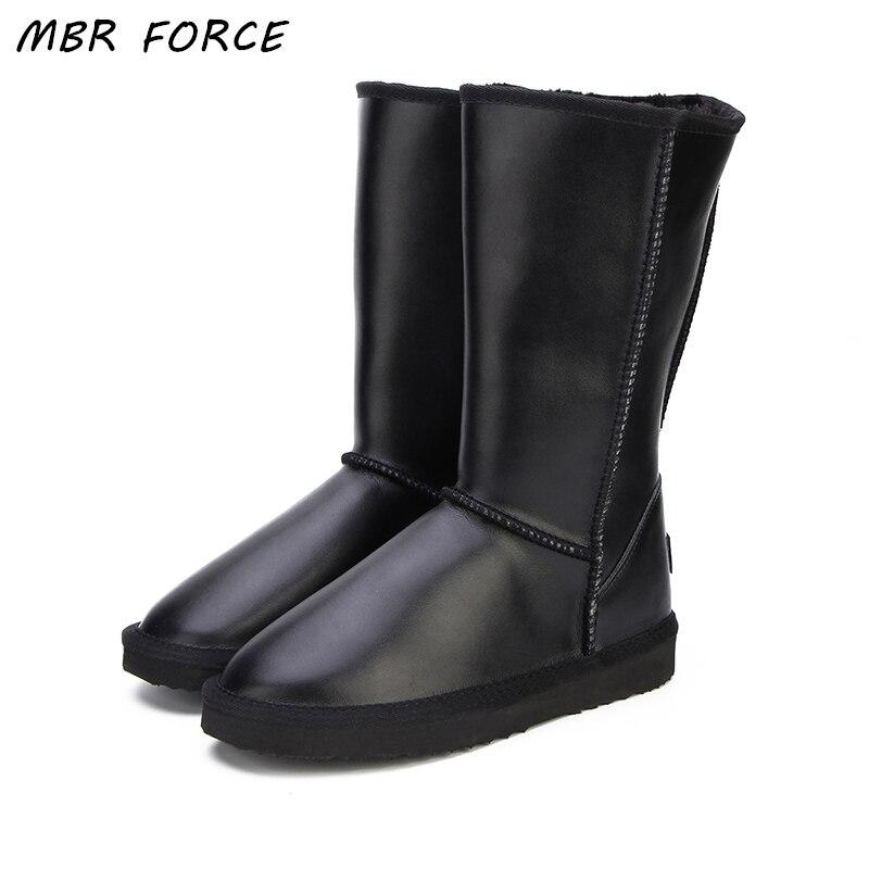 MBR FORCE 2018 Femmes Chaussures Bottes D'hiver Véritable peau de Vache En Cuir étanche 6 couleur mode casual femme neige bottes NOUS 3 -13
