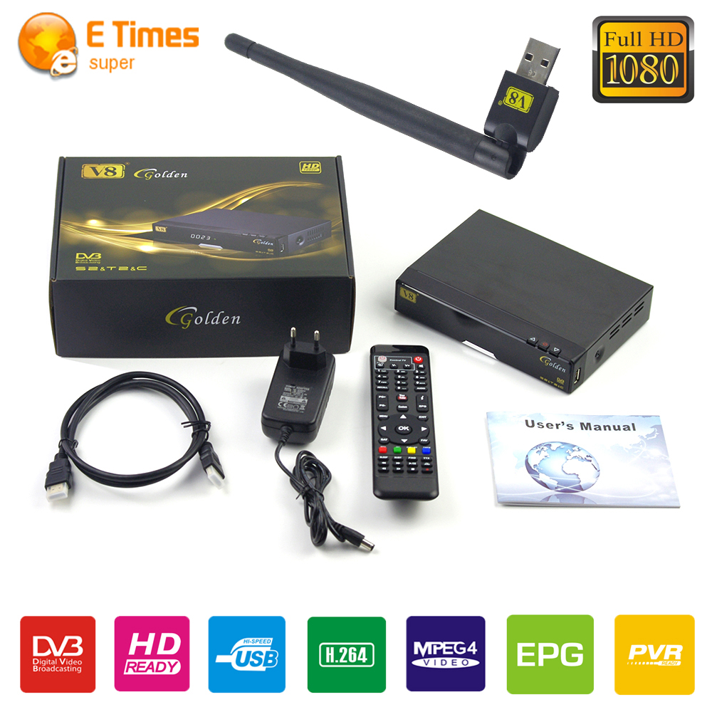 ФОТО Tv Tuner Wifi satellite internet V8 USB Wifi &Freesat V8 Golden DVB-S2+T2+C Satellite TV Combo Receiver Support free IPTV Cccamd
