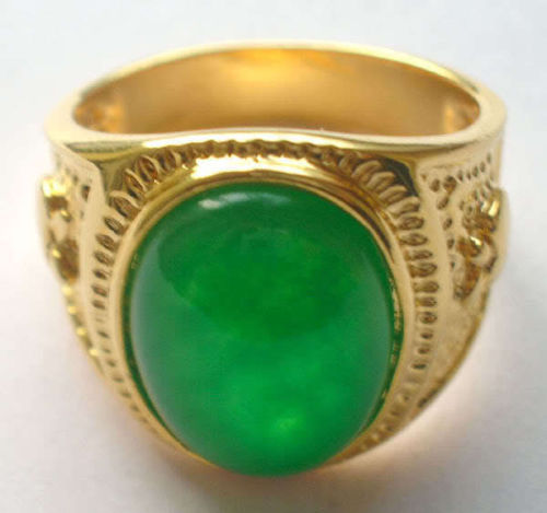 Оптовая цена 16new ^ ^ ^ ^ Ювелирные Изделия 18 К GP зеленый нефрит мужские кольца (8,9, 10,11)