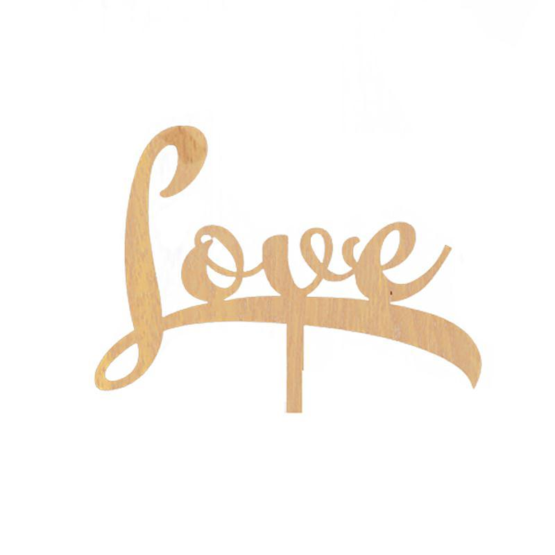 Baby Shower Wooden Wedding Cake Topper Decorative Love Logo Wood