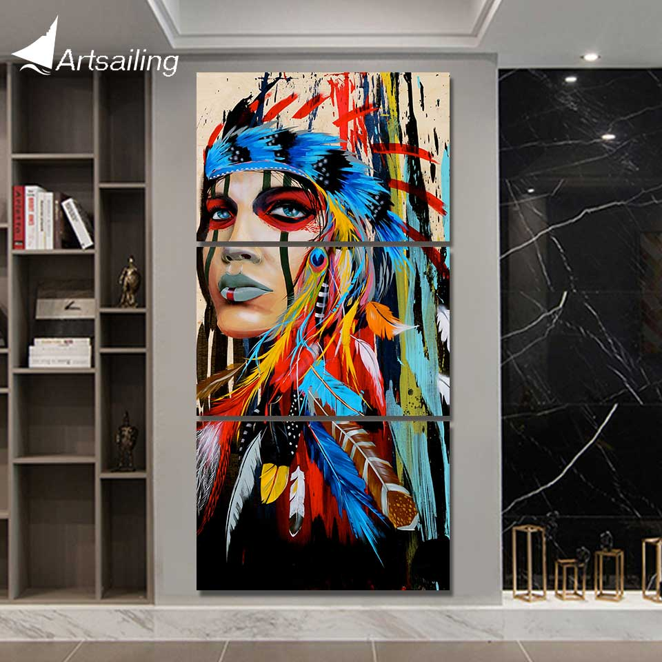 Hd Printed 3 Piece Canvas Art Painting Native American Indian With Feather Decoration Pictures For Living Room Poster Ny-5786