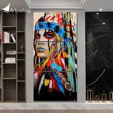 HD с 3 шт. холсте картины американских индейцев с пером украшения картинки для гостиной плакат NY-5786