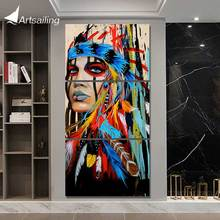 canvas art Printed The Indians feathered Painting Canvas Print room decor print poster picture Free shipping/NY-5786