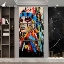 HD printed 3 piece canvas art Painting tribe feather warrior decoration pictures for living room American art Poster NY-5786(China)