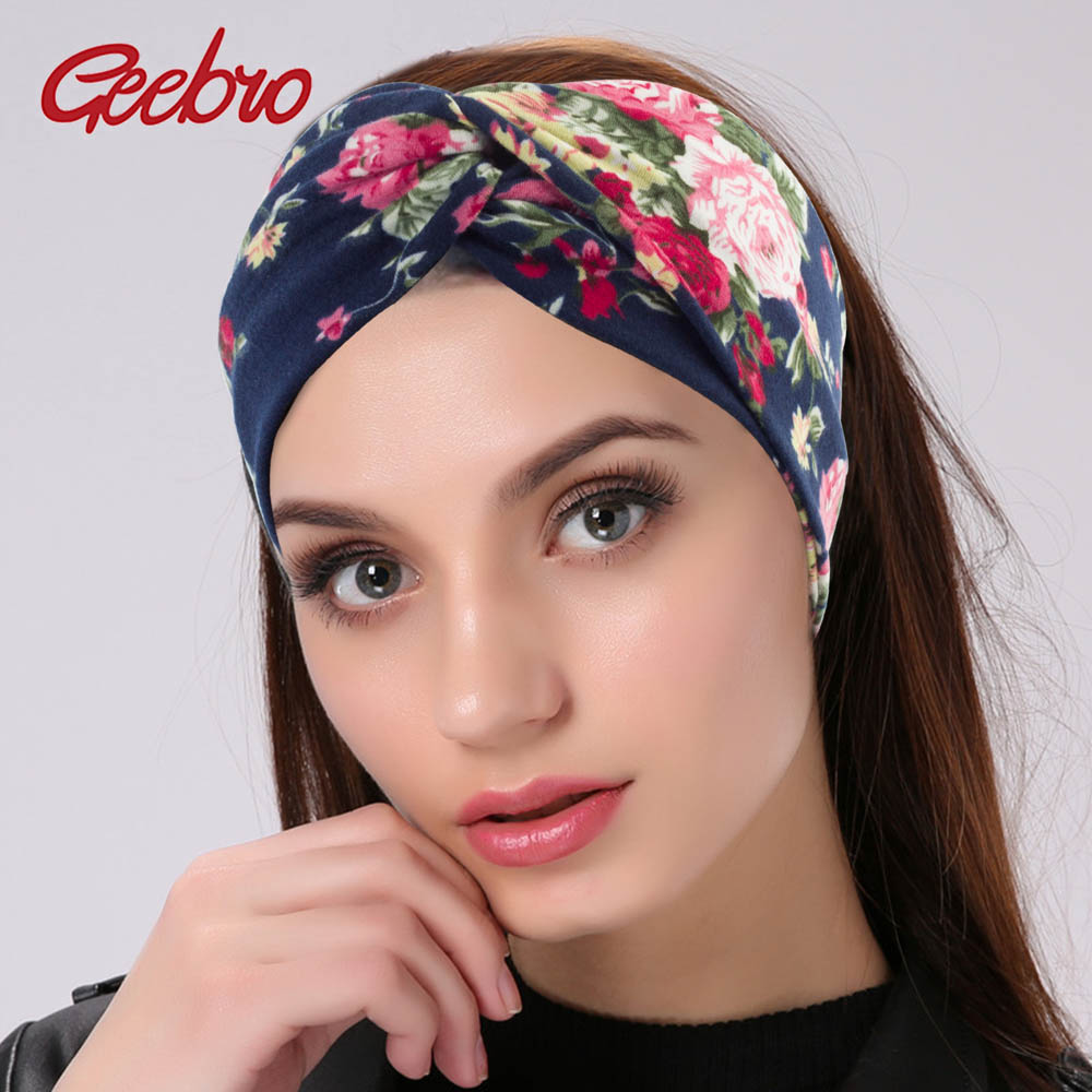 Geebro Women Twisted Knotted Headband Summer Bohemia Floral Wide Stretch Hair Band For Girls Elastic Turban Flower Spa Headbands