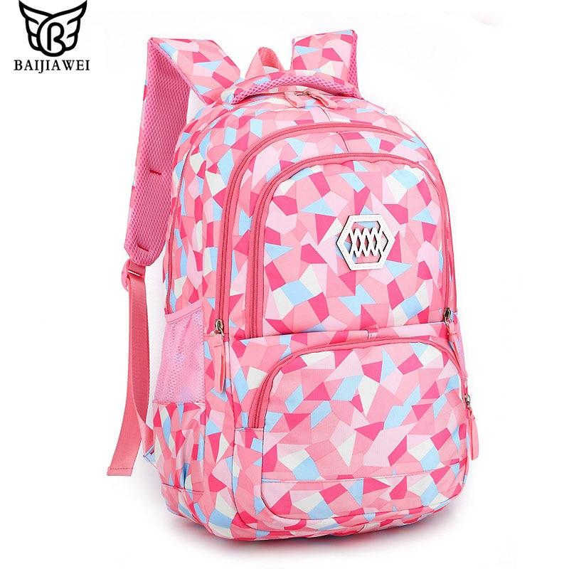 BAIJIAWEI 2017 Girls School Bag Waterproof Light Weight Kids Backpack Children Printing Backpack Primary Bookbag for