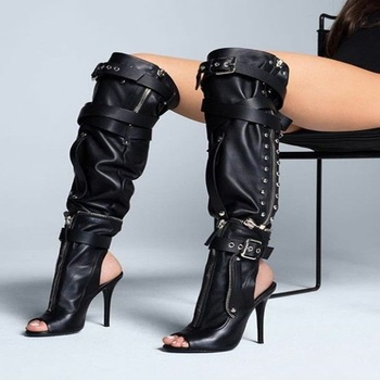 2018 Over The Knee Ladies Night Club Sexy Peep Toe Boots Side Zip Buckle Crossed Belt Decor Shoes Hollow Out Slingback Big Size